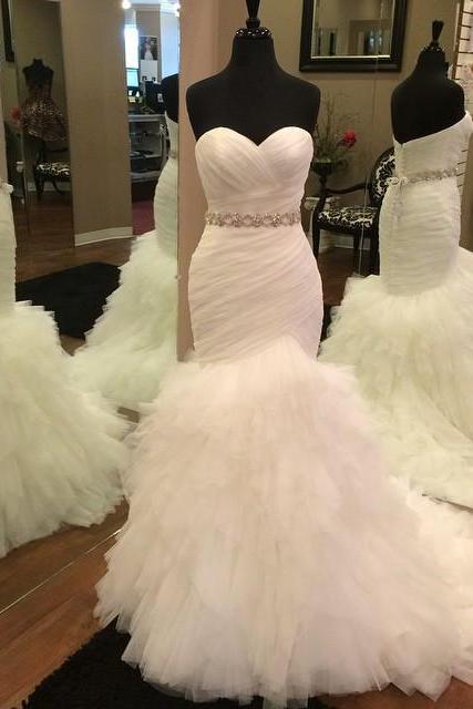 Mermaid Wedding Dresses Soft Tulle Bridal Wedding Dresses Sweetheart Pleat Tiers Sweep Train Bride Wedding Gowns with Lace Up Back