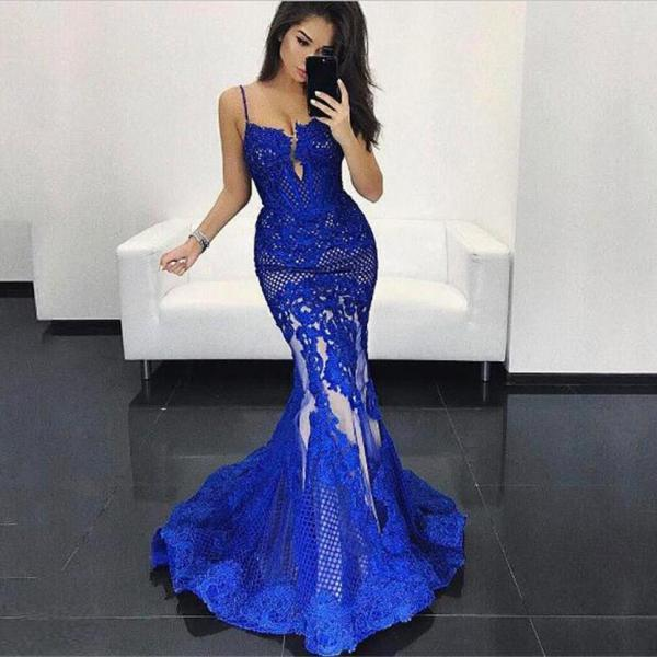 Gorgeous Royal Blue Prom Dress 2017 Sexy Mermaid Spaghetti Straps Lace Appliques Floor Length Women Formal Party Dresses Gowns