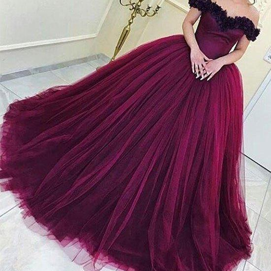 Elegant Prom Dress, Long Prom Dress,Tulle Prom Dresses, Formal Evening Dress,Ball Gown Prom Dresses,Off the shoulder party dress,Flower Bride Dress,Burgundy Prom Gowns