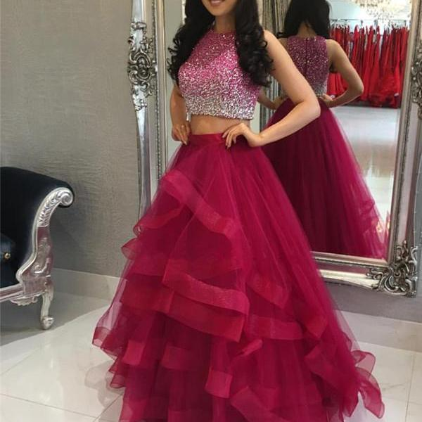 Two Pieces Prom Dresses,A-line Tulle Prom Dresses,Formal Evening Dresses,Zipper Back Prom Dress,Long Prom Dresses,Sparkly Prom Gowns,Prom Dresses For Teens,Prom Dress Burgundy,Graduation Dress