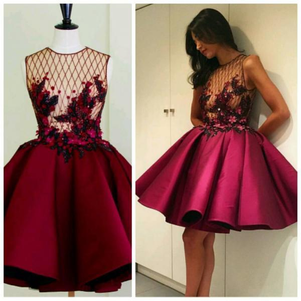 Burgundy Satin Prom Dresses 2017 Sexy Sheer Ball Gown Short Flowers Appliques Beaded Prom Dresses Party Dresses Girls Graduation Dress Homecoming Gowns