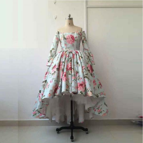 Arabic Dubai Print Flower Material Long Sleeve Ball Gown High to Low Charming Formal Retro Evening Prom Dresses