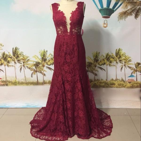 custom made high quality french lace burgundy mermaid evening dress 2017 women formal evening gowns see through back long train prom dress party gowns