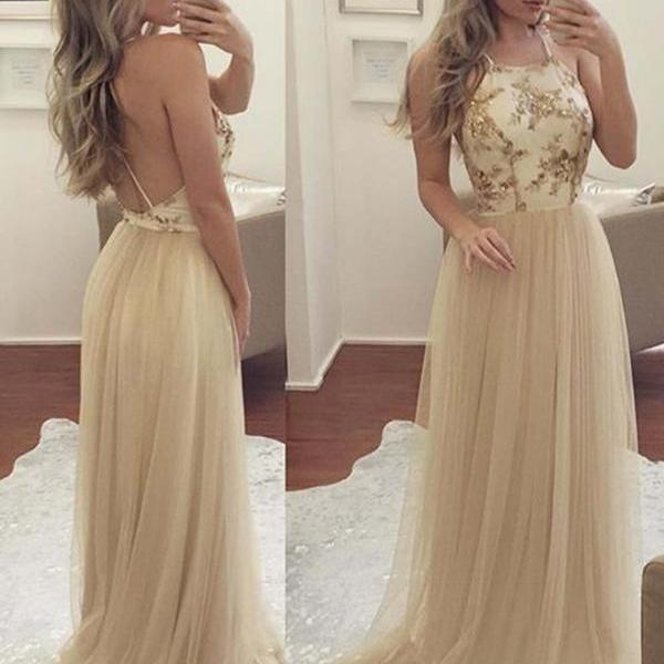 Sexy Halter Backless Champagne Long Tulle Prom Dresses with Lace Appliques Sequins A Line Floor Length Party Dress Women Gowns Custom Made