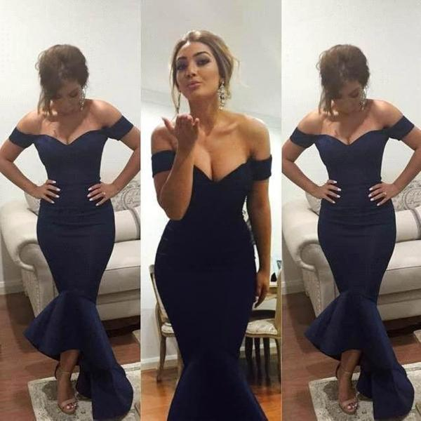 2017 Simple Off the Shoulder Sweetheart Short Sleeve Mermaid Design Beach Bridesmaid Dresses High Low Satin Bridesmaid Dress Navy blue Pink Bridesmaid Gown