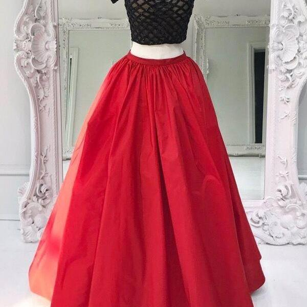 Two pieces A-line long evening dresses,prom dress with black top,sequins beaded party dress,short sleeve women formal gowns
