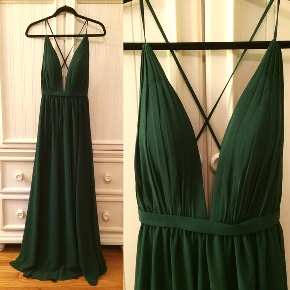 Dark green backless long prom dress ,dark green evening dresses