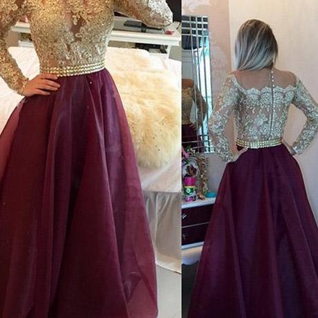 Long Sleeves Burgundy Organza Illusion Scoop Prom/Evening Dress With Appliques Buttons