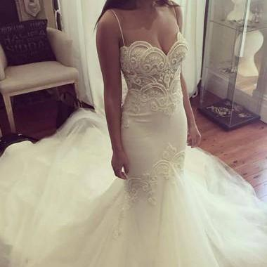 Mermaid Spaghetti Straps Court Train Ivory Tulle Wedding Dress with Appliques