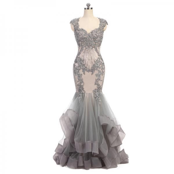 High Quality Sweetheart Mermaid Evening Dress Sequins Beads Mermaid Dress Long Elegant Prom Dresses Cap Sleeve Gray Tulle Prom Dress with Backless