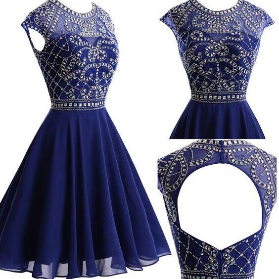 Homecoming Dresses, Navy Chiffon Homecoming Dresses, Open Back Homecoming Dresses, Short Prom Dresses, Homecoming Dresses, Cheap Homecoming Dresses