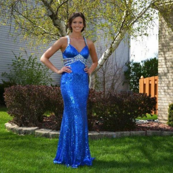 Blue Prom Dresses Straps Empire Waist Mermaid Sequined Women Formal Party Dress with Beaded Crystals