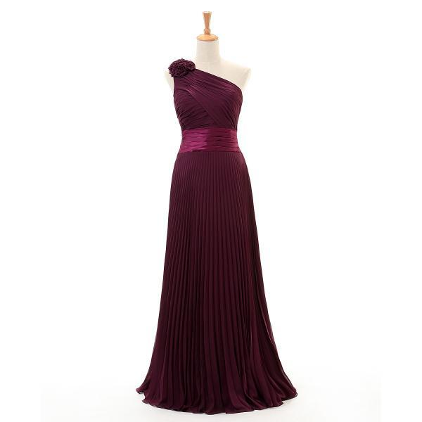 One shoulder Maroon Long Chiffon Bridesmaid Dresses A Line Pleat Floor Length Wedding Party Dress with Hand made Flower