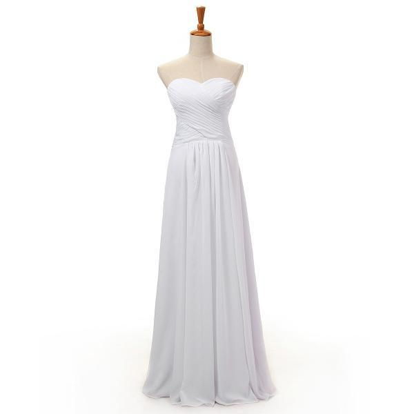 Simple Long Chiffon Beach Wedding Dresses A Line Sweetheart Pleat Bridal Wedding Gowns