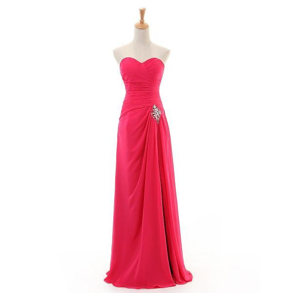 Fashion Fuchsia Long Chiffon Bridesmaid Dresses A Line Sweetheart Pleat Beaded Floor Length Women Party Dress for Wedding