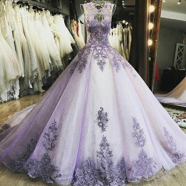Luxury Lilac Ball Gown Women Formal Party Dresses Sheer Neck Lace Appliques Court Train Quinceanera Dress Wedding Gowns