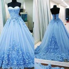 2018 A Line Prom Dresses Sweetheart Appliques Tulle Backless Bandage Light Blue Evening Gowns Quinceanera Dresses Sweet 16 Dresses