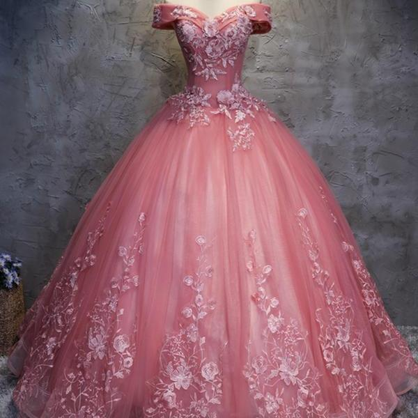 2018 off shoulder coral tulle long handmade evening dress, long ball gown quinceanera dress prom gowns with lace appliques