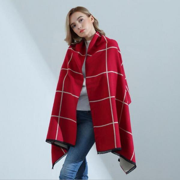 Fashion Grid Womens Scarves Pareo Wraps Soft Warm Spring Autumn Cashmere Scarf Blankets Shawls Cloaks Red