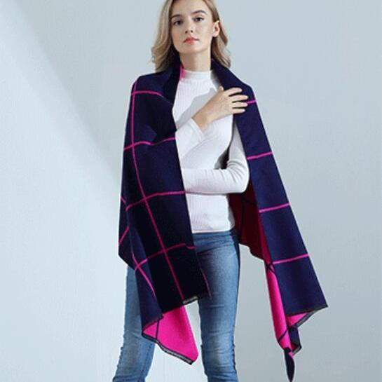 Fashion Grid Womens Scarves Pareo Wraps Soft Warm Spring Autumn Cashmere Scarf Blankets Shawls Cloaks Fuchsia and Navy