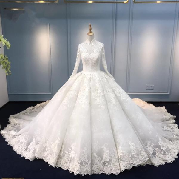 Vintage 2018 Muslim Wedding Dresses Ball Gown Long Sleeve Lace Turkey Dubai Arabic Wedding Gown Bridal Dresses