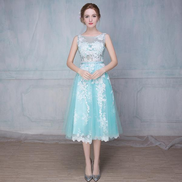 Elegant Mint and Ivory Backless Party Dresses lace Appliques Mid-Calf Mesh Women Prom Banquet Dress Formal Gowns for Weddings