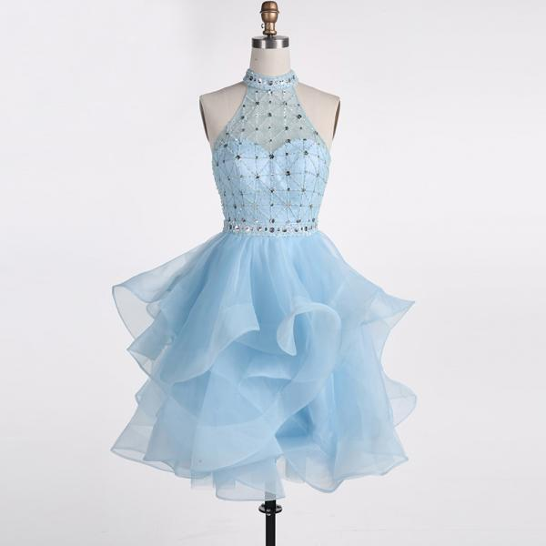 Short Blue Homecoming Dress 2019 High Neck Mini Beaded Ruffled Skirt Graduation Dress Crystal Belt Cocktail Gown