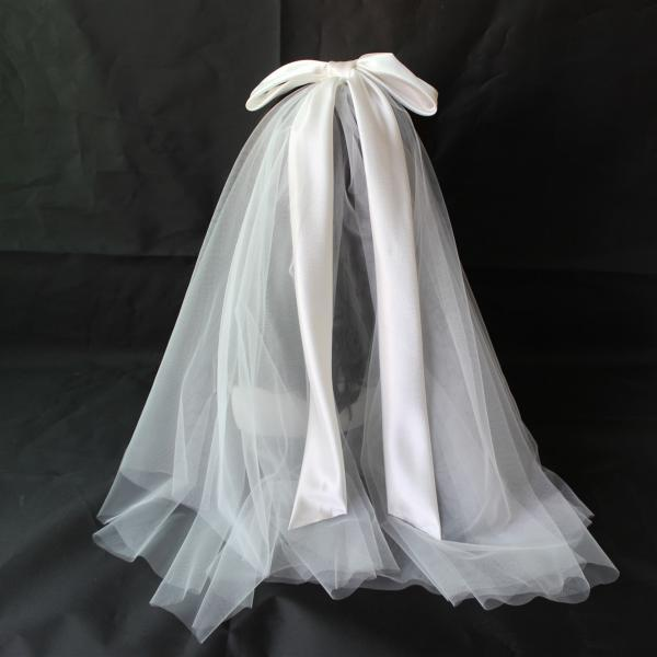 Big Bow Wedding Veil Short Soft Tulle Bridal Veils Two Layer Cheap White Shoulder Length Bride Veils Wedding Accessories