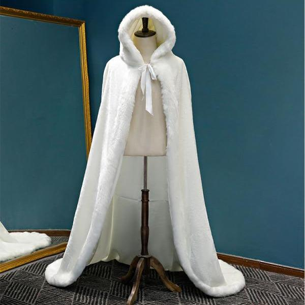 Warm Faux Fur Trim Winter Bridal Cape Stunning Wedding Cloaks Hooded Long Party Wraps Jacket Ivory Wrap