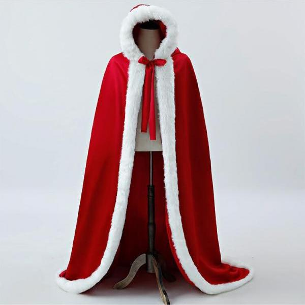 Warm Faux Fur Trim Winter Bridal Cape Stunning Wedding Cloaks Hooded Long Party Wraps Jacket Red Wrap