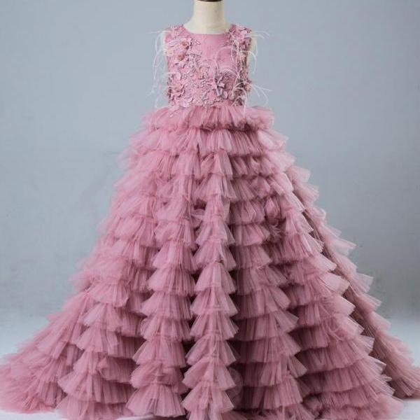 Luxury Dusty Pink Flower Girl Dresses Ball Gown lace Appliques Beads Feathers Layers Tulle Girls Long Pageant Dress
