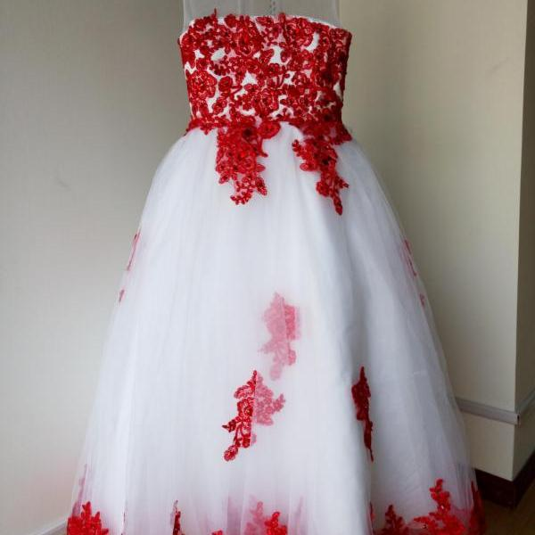 Red lace Appliques Flower Girl Dresses for Wedding Party A line Floor Length O-neck Girls Pageant Prom Dress