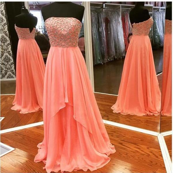 Charming Plus Size Chiffon Long Prom Dresses Beaded Strapless Formal Dresses Evening Party Gown Graduation Dresses Custom made