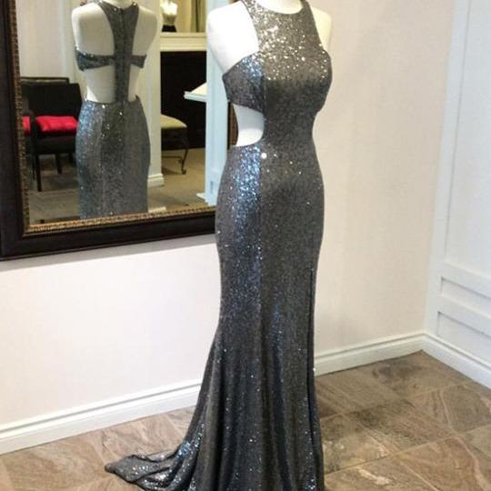 Sexy Grey Sequin Open Back Prom Dresses Simple Halter Prom Dresses Evening Dresses Custom made