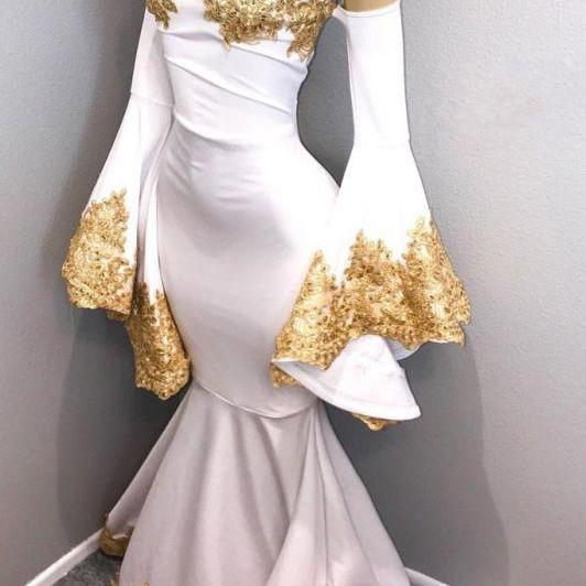 Sweetheart Long Mermaid Prom Dresses Long Sleeves Gold Appliques Evening party Gown