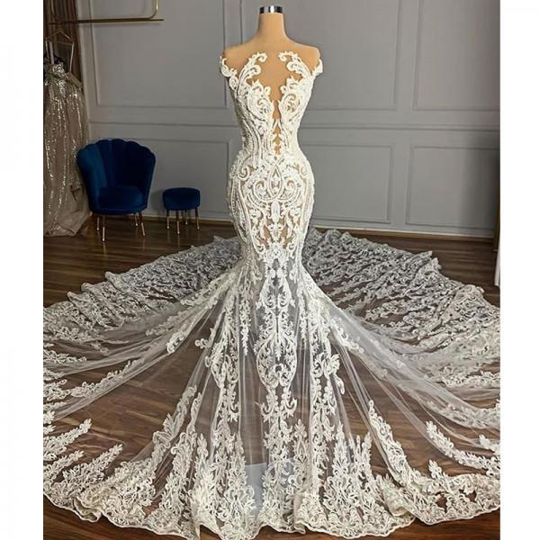 Vintage Full Lace Illusion Bridal Wedding Dresses 2021 Sheer Neck Sleeveless Court Train Zipper Back Custom Made Wedding Gowns