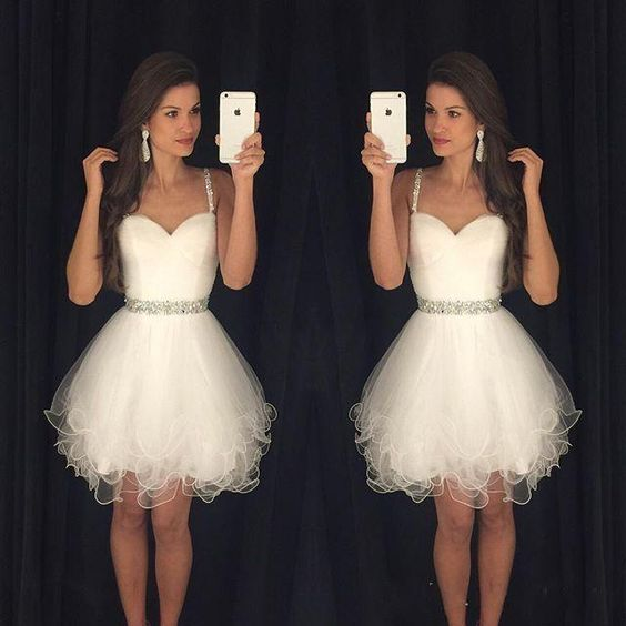 Homecoming Dresses 2016 Short Prom Dresses with Spaghetti Straps Ruffled Skirt Tulle Beaded Crystals Wedding Party Dress Prom Gowns