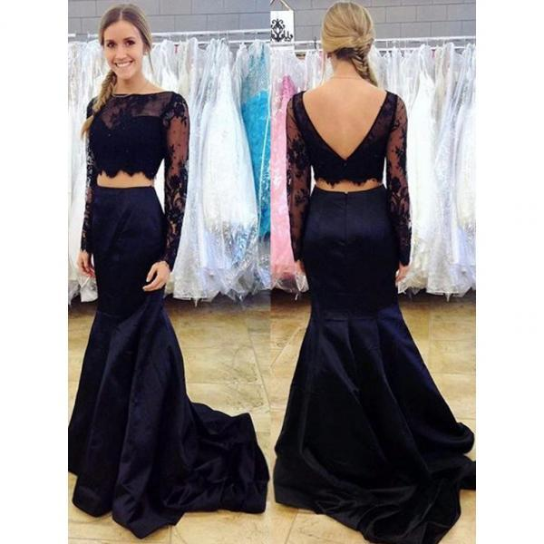 Two Piece Prom Dress, Long Sleeve Lace Prom Dresses, Mermaid Prom Dress,Black Formal Party Dress,Women Cheap Evening Gowns