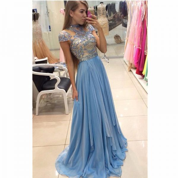 Light Blue Long Chiffon Prom Dresses,A line Prom Gowns,High Neck Party Dresses,Beads Women Formal Gowns