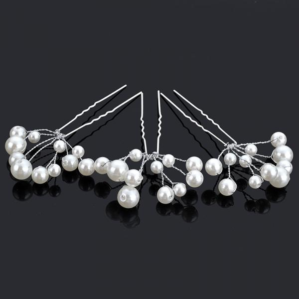 5PCS/Lot Hair Clips For Women Wedding Accessories Bridal Crystal Pearl Lace Flower Barrettes Bridesmaid Hair Pin Romantic Wedding Jewelry