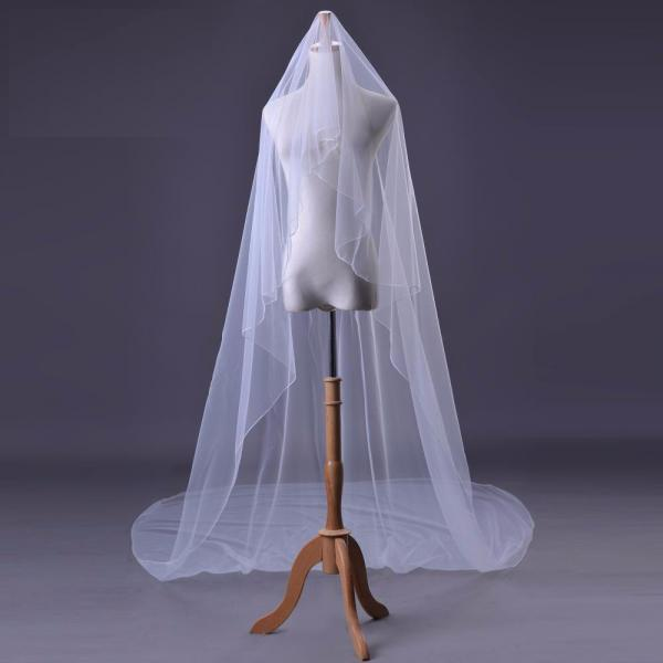 New Cathedral White Ivory Elegant Appliques Long Wedding Veil Bridal Accessory Veils 3M Bridal Veils