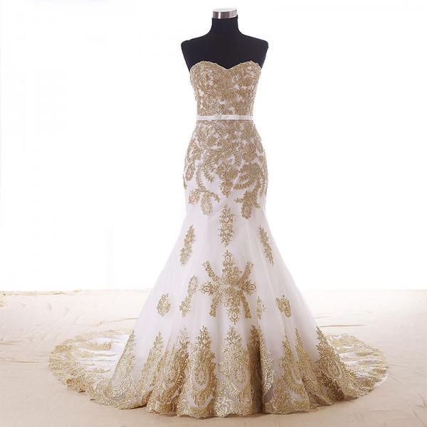 Stunning Mermaid Wedding Dresses Sweetheart Gold Applique Chapel Train Countryside Bridal Gowns Custom Vestido de Noiva