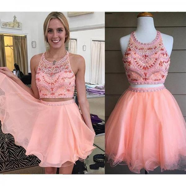 Elegant Peach Prom Dresses 2017 Graduation Short Beaded Two Pieces A-Line Tulle Party Dress Halter Homecoming Dresses Gowns
