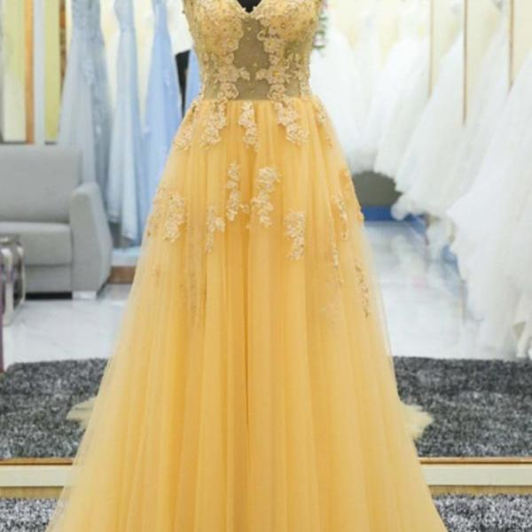 Light Yellow tulle lace applique V-neck long prom dress,Fashion Prom Dress,Sexy Party Dress,Custom Made Evening Dress,Beaded Prom Gowns