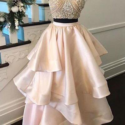 Nude Prom Dresses, Two Piece Prom Dress,Beaded Crystal Prom Dress,Ruffles Formal Party Dress,Floor Length Satin Graduation Gowns