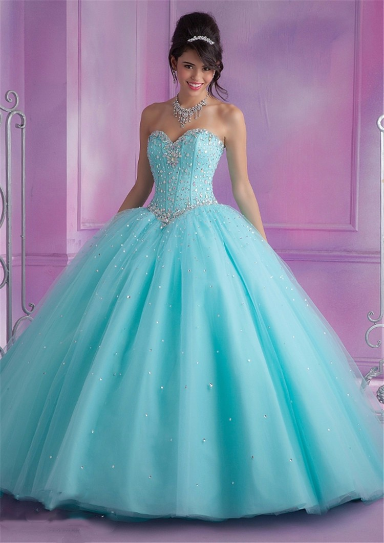 2017 Mint Blue Quinceanera Dresses Ball Gown With Beads Cheap ...