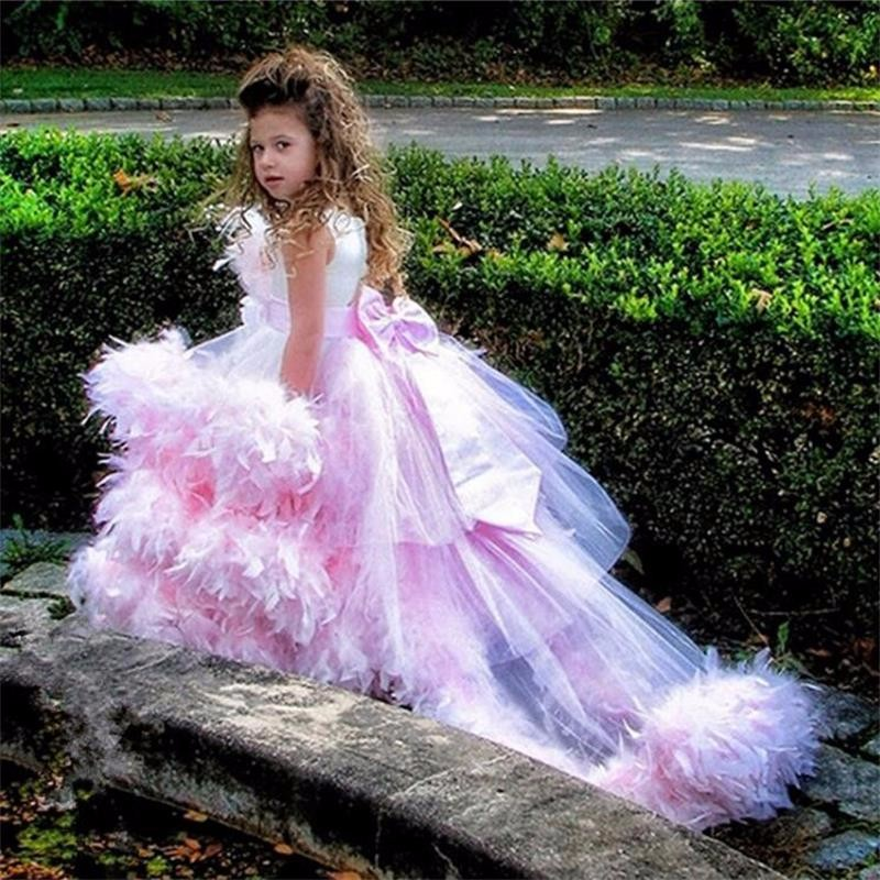 ae3c178da90 Charming Pink Ball Gown Flower Girl Dresses Luxury Feathers Sweep Train  Tulle Girls Pageant Dresses First Communion Dress